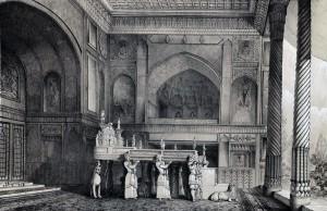 Marmurowy tron, rys. Eugène Flandin